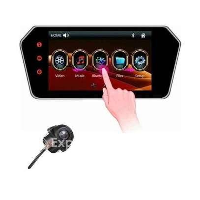 Ecran rétroviseur tactile avec lecteur multimedia, carte mémoire, clé usb, bluetooth et caméra arrière full hd image 1