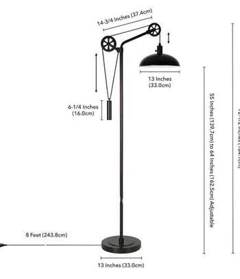 Lampadaire en métal à poulie réglable moderne image 4