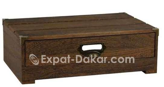 Support de moniteur en bois avec tiroir image 1