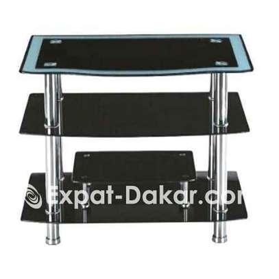 Meuble tv - etagères 4 niveaux - verre - noir image 1