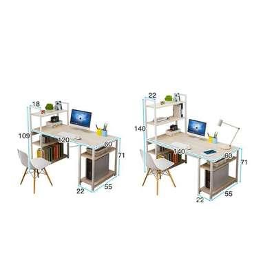 Bureau table étagère avec chaise marron image 3