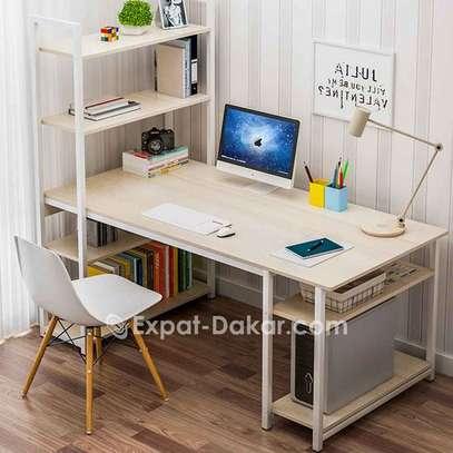 Bureau table étagère avec chaise marron image 2
