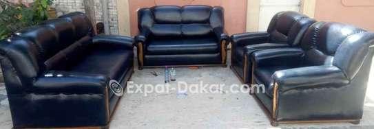Salon 7 places en cuir anglais image 1