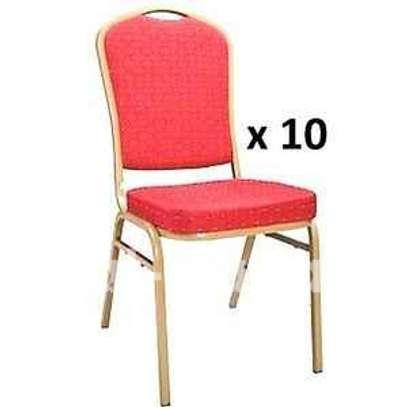 Lot de 10 Chaises VIP - Rouge - Rebord Doré image 1