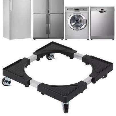 Support Réfrigérateur, Machine à laver, Mobile en acier inoxydable renforcé rétractable avec roulettes réglable image 4