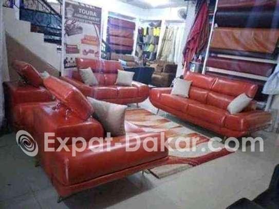 Salon simili cuir et tissu en 7 places image 1