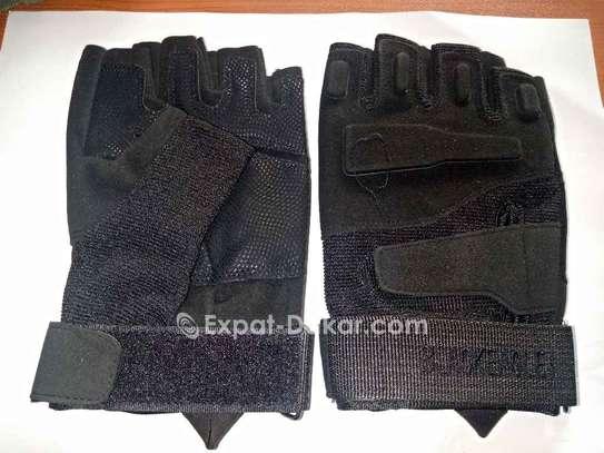Gants demi doigt simili cuir image 5