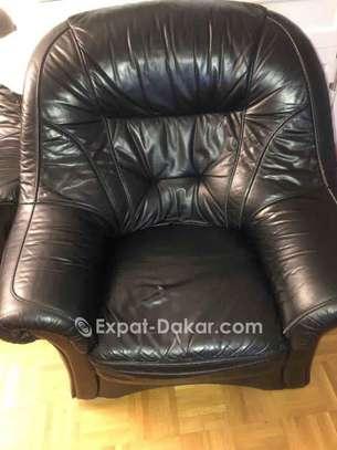 Salon 5 places noir en cuir image 3