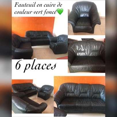 salon en cuire couleur bleu 5 places image 2