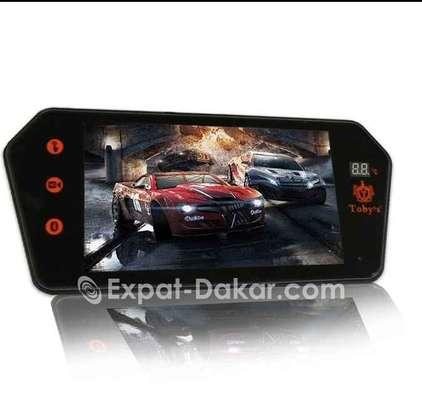 Ecran rétroviseur tactile avec lecteur multimedia, carte mémoire, clé usb, bluetooth et caméra arrière full hd image 2