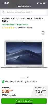 MACBOOK AIR 2017 core i5 RAM 8gb DISQUE 128gb SSD image 2