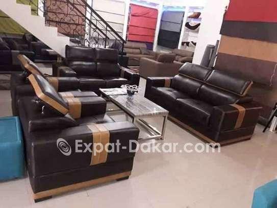 Salon 7 places simili cuir image 3