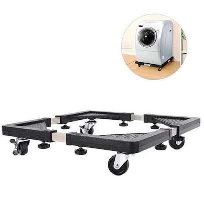 Support Réfrigérateur, Machine à laver, Mobile en acier inoxydable renforcé rétractable avec roulettes réglable image 3