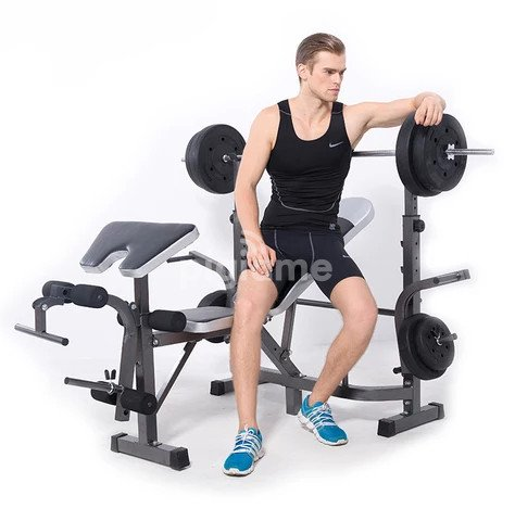 Work out bench with Incline + Bar + 50kg Weights in ...