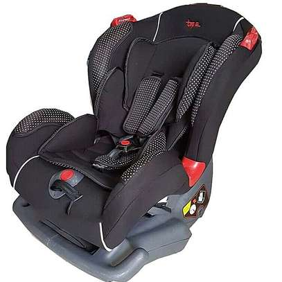 Big size Reclining Car Seat with a Firm Base- Black with White Polka