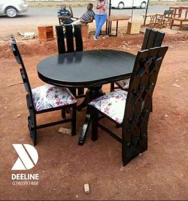 5 Piece Mahogany Framed Dining Table Sets. image 4