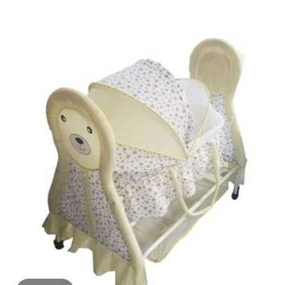 Rocking Baby Crib/Rocking Bed Baby Cradle Swing Cot & Baby Stroller With With Fabric Mosquito Net Infant Crib Baby Bed with Animal Print- Yellow