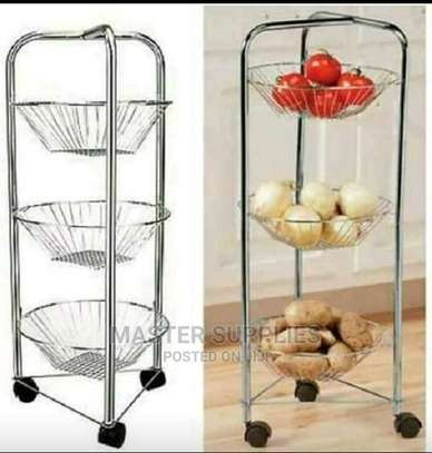 3 Layer Round Steel Fruit Trolley image 1