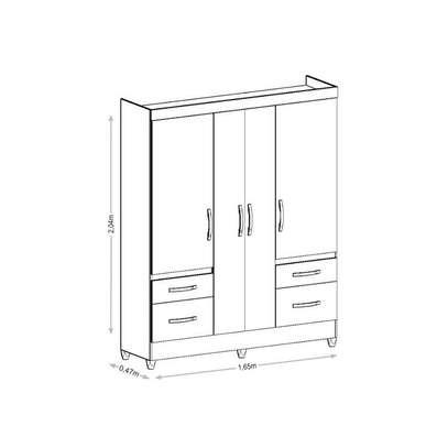 Wardrobe with 4 Doors & 4 Shelves - London Moval Wardrobe - Hazel/Oak image 4