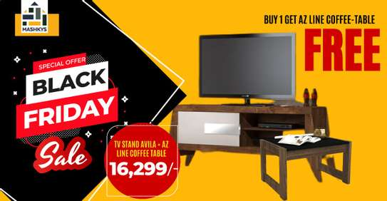 BUY TV STAND AVILA(BROWN)GET COFFEE TABLE FREE image 1