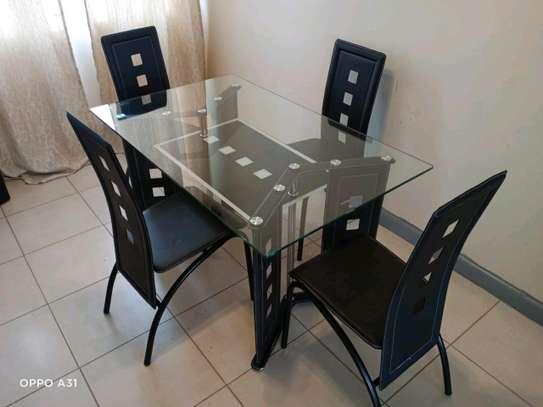 Dining table four chairs metallic image 1