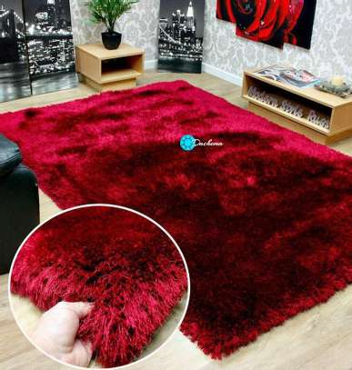 7*10 maroon fluffy soft carpet image 1