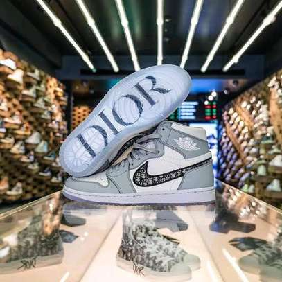 Gray and white unisex Dior Jordan 1 high tops image 1