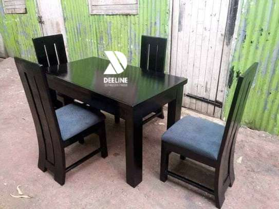 Black 4 Seater Dining Table. image 4