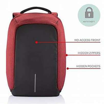 Anti-theft USB Charging Port Business Backpack - Black And Maroon image 2
