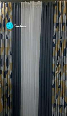 blue customized double sided curtains image 1