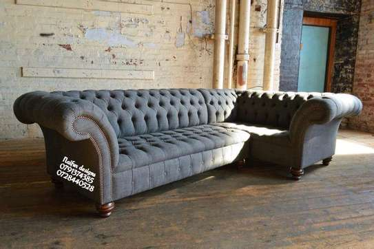 Grey L shaped sofas for sale in Nairobi Kenya/chesterfield sofas/five seater sofas image 1