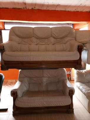 Genuine Ex UK Leather sofa set image 1