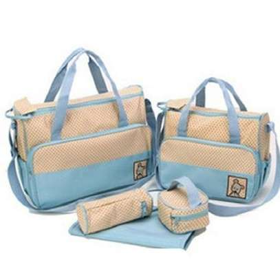 Bear Club Shoulder Diaper Bag, Multi Pockets Waterproof Nappy Bag For Travel, Large Capacity and Stylish- Sky blue