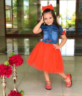 Girls red denim dress image 1