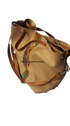 Ladies Beige Leather Handbag With Ankara Strip