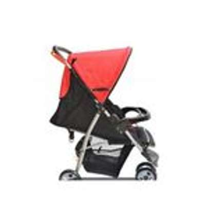 3 wheeler Baby Stroller/ Foldable Pram Portable Baby Stroller With Universal Casters-red/black image 2