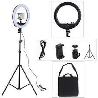 14 Inch LED Ringlight Kit with Phone Holder Adjustable Color Temperature Circle Lighting for Camera for Vlog, Makeup, Video Shooting image 1