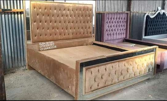 Mirrored king-size beds/brown beds/6*6 beds image 1