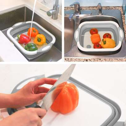 Multifunction 3 in 1 Folding Cutting Board with Strainer Foldable Chopping Board image 5