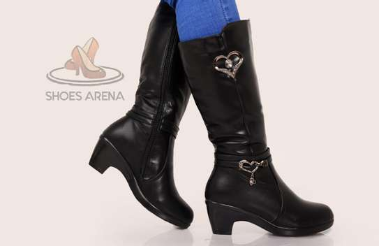 Coffee & black leather boots image 3