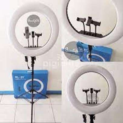 18 Inch 55W Dimmable LED Circle Makeup Selfie Ring Light with Tripod Stand with Mobile Phone Holder image 1