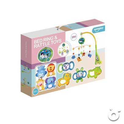 Superior 2 in 1 Dreamful Rotate baby Bed Ring & Animals Rattles Toys Set and shakers image 1