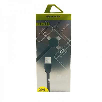 AWEI CL-83 3 in 1 Lightning, Type-C, Micro Port Multi Charging Cable 2m image 2