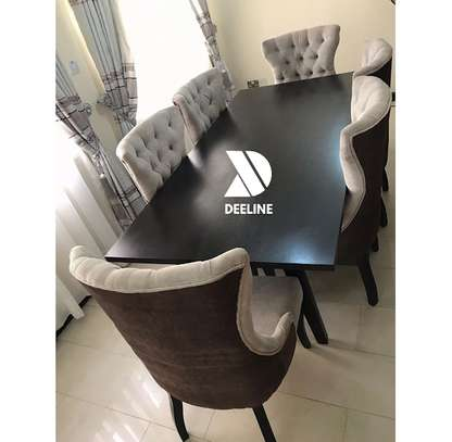 6 Seater Dining Table Set with Tufted Seats.