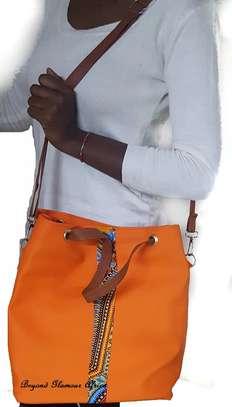 Ladies Orange Leather Handbag With Ankara Strip image 2