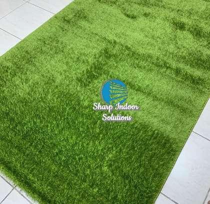 Green fluffy soft carpets image 2