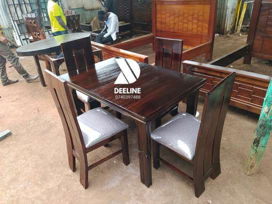 4 Seater Mahogany Framed Dining Table Sets image 1