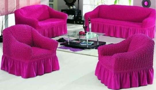 sofa cover stretchable 5 sitter maroon image 1