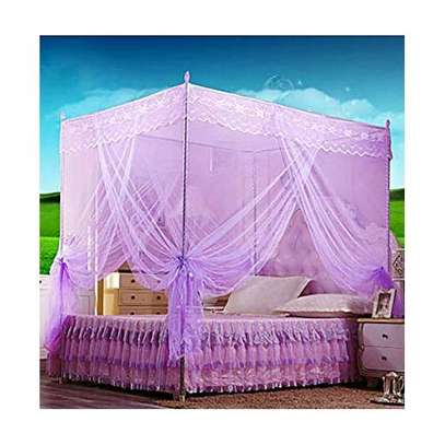 Mosquito Net With 4 Metallic Stand - Pink image 2