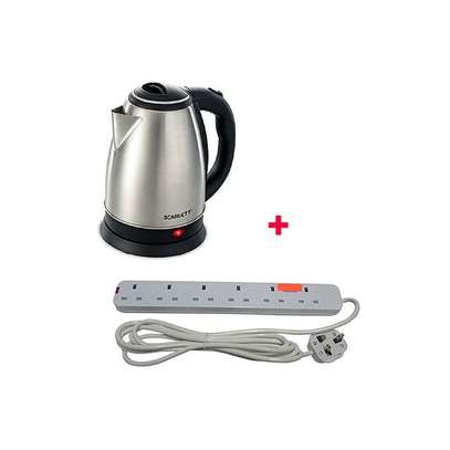 Scarlett Cordless Electric Kettle - 2L - Silver Plus Free 6 way Extension Cable image 1